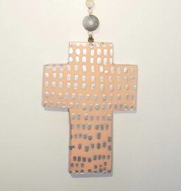 Entouquet Two Sided Peach Cross on Ball Hanging