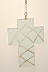 Entouquet Teal Cross with Silver Criss Cross Pattern Hanging