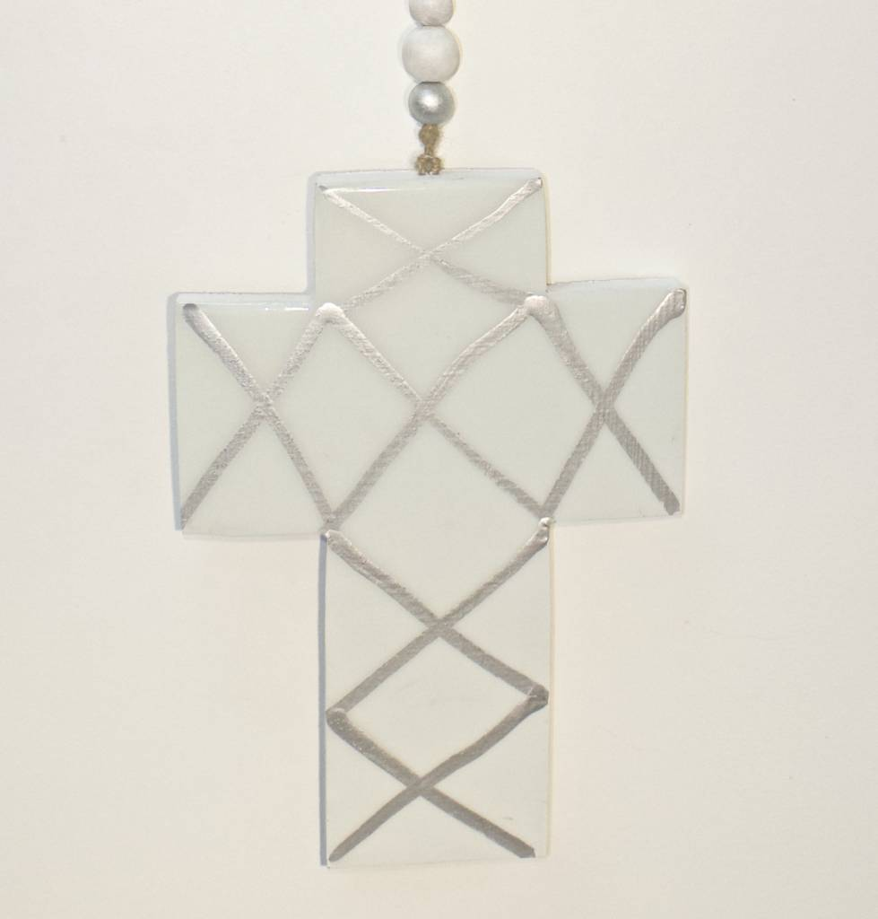 Entouquet Light Teal Cross with Silver Criss Cross Pattern Hanging