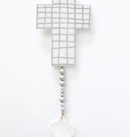 Entouquet Cross-Hatch White Cross with Clay Heart