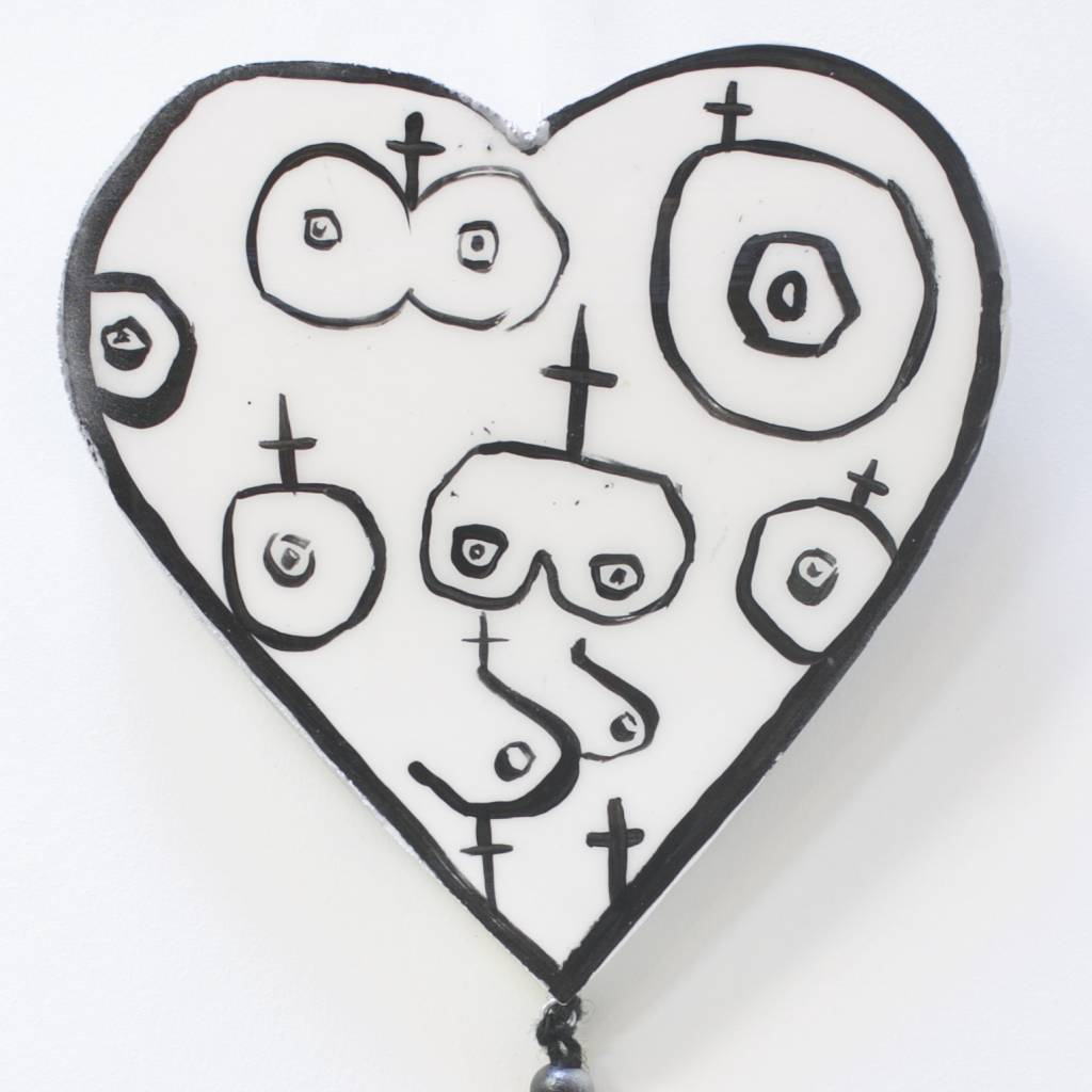 Entouquet Black and White boob heart tile with multi colored beads