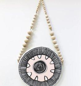 Entouquet Pink, Black &white MEDIUM tribal circle tile on natural balls and beads