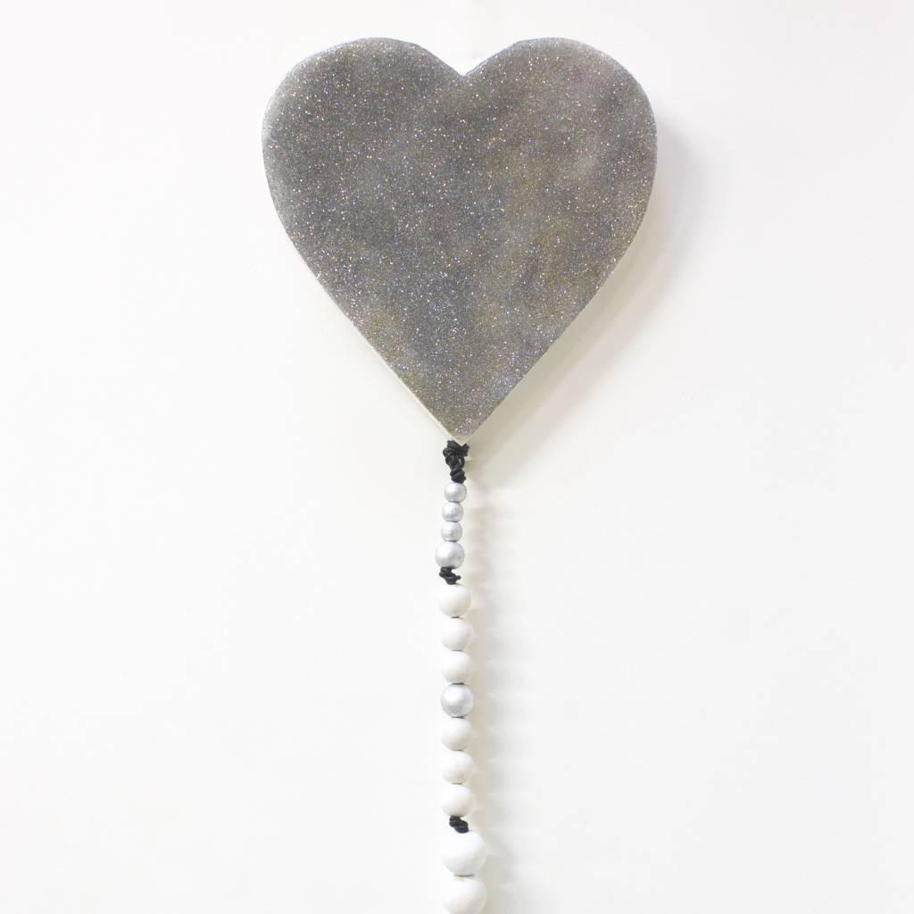 Entouquet Med. Silver Sparkle Heart w/ Beads/Tassel
