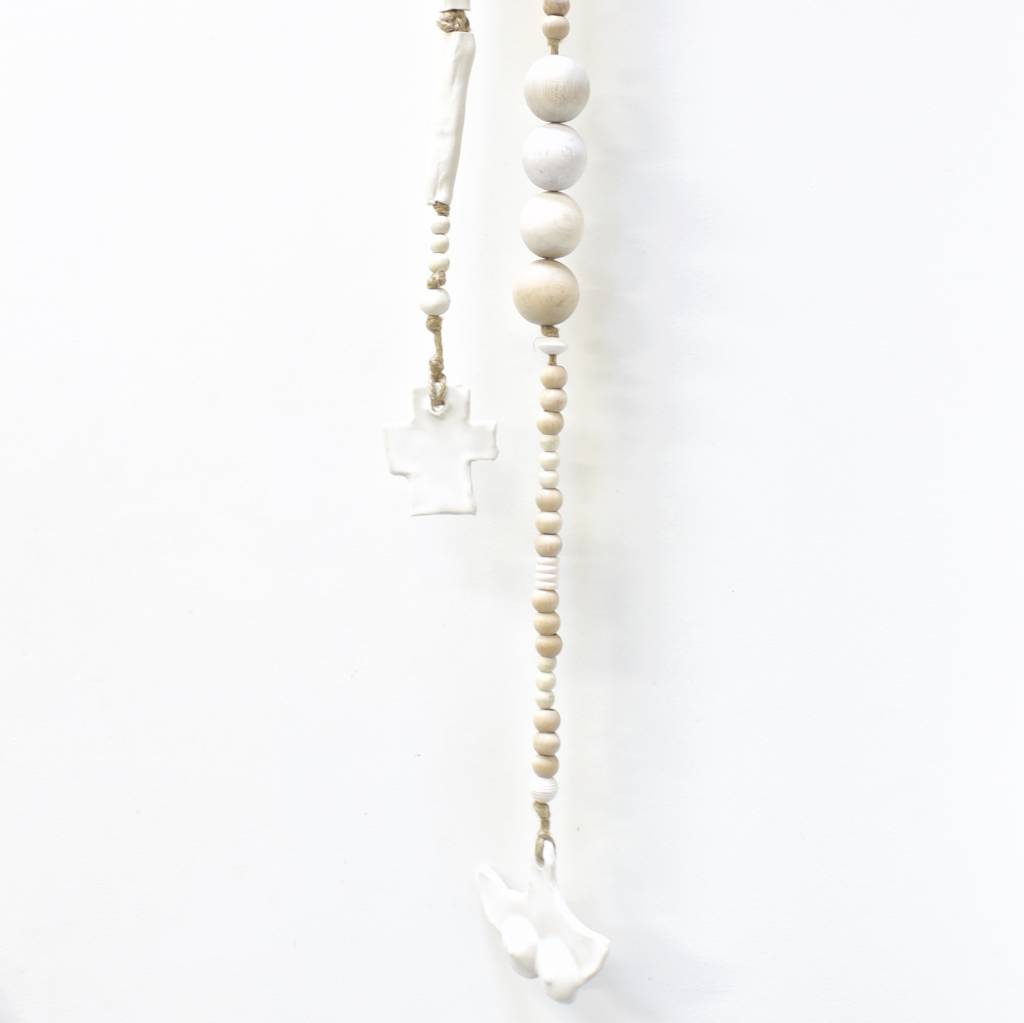 Entouquet E5290 Wood Ball & Porcelain Rosary w/ Clay Cross, Lg
