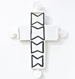 Entouquet White + Black Design Cross Tile with 4 Clay Circles