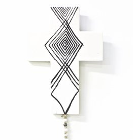 Entouquet Lg. White & Black Tribal Cross w/ Round Clay Attachment