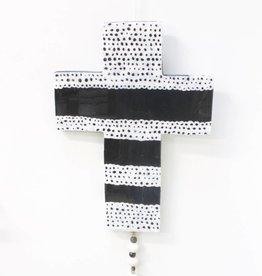 Entouquet Lg. Black Cross w/ Lace Design & sm. Eye Heart Milagro attach.