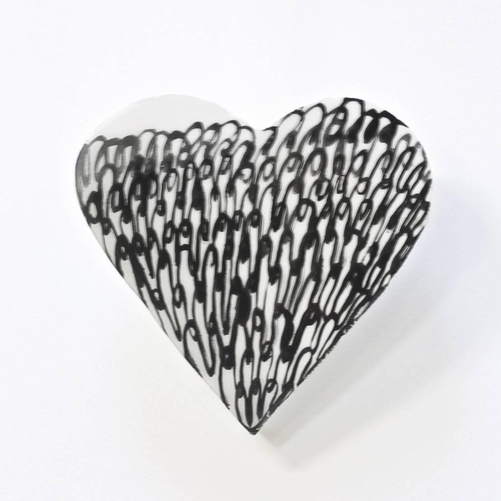 Entouquet Sm. Black & White Scribble Heart