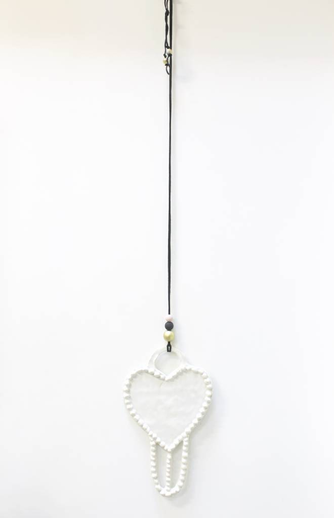 Entouquet Clay Heart w/ balls on Black Leather