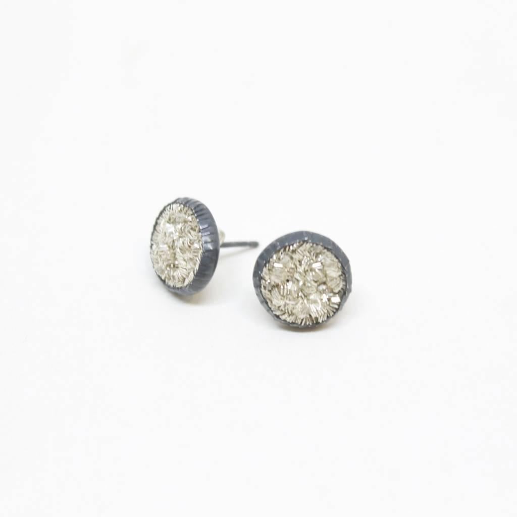 Himatsingka Sparkler 10mm Silver Stud Earrings