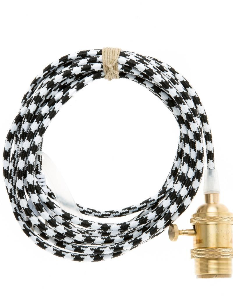 Color Cord Company Brass Plug-In Light Cord - Black and White Houndstooth
