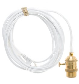 Color Cord Company Brass Light Cord - White