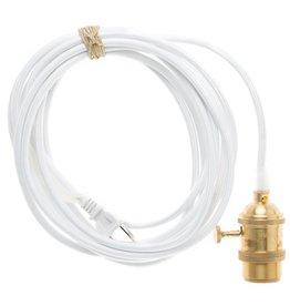 Color Cord Company Brass Light Cord - White