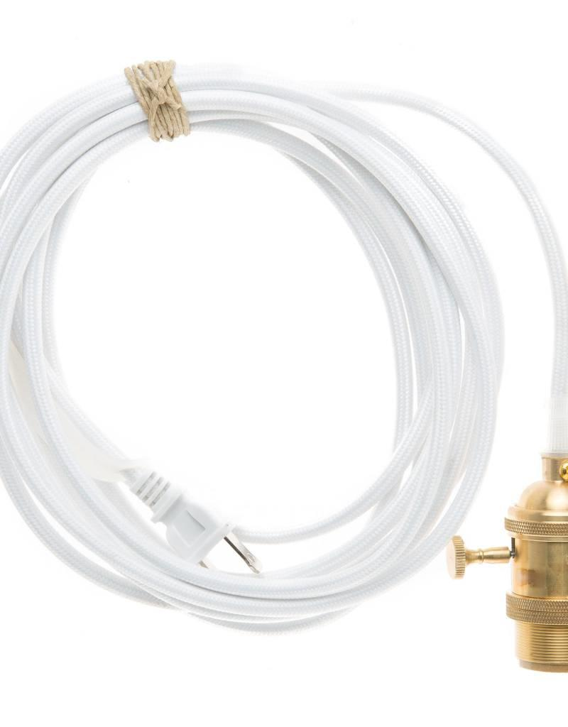 Color Cord Company Brass Plug-In Light Cord - White