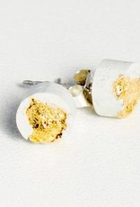 Dconstruct Jewelry Fractured White Concrete Earrings - Studs