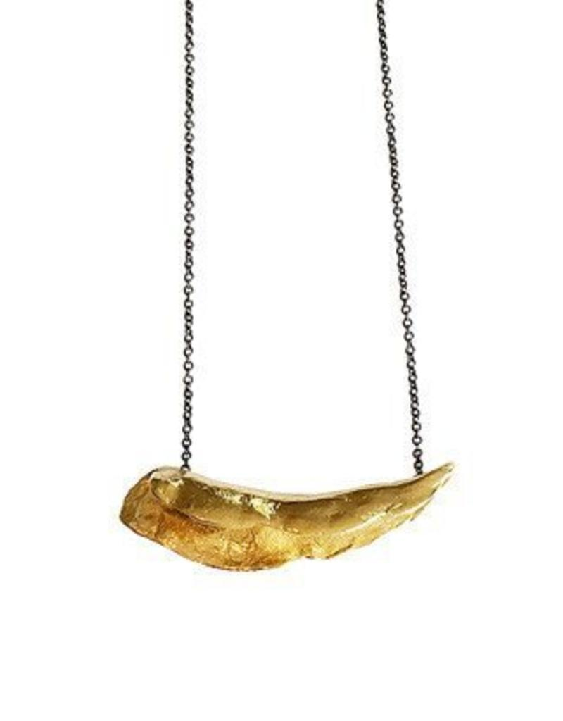 blankpoleret necklace ny tusk pendant forgyldt gold polished solv en us halskaede high