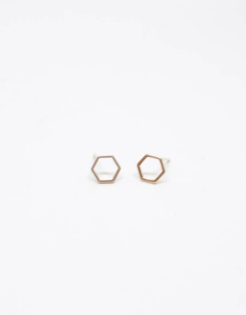 Standout Boutique Outline Stud Earrings - Hexagon