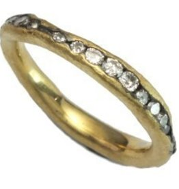 TAP by Todd Pownell Gold Irregular Channel Ring with Diamonds