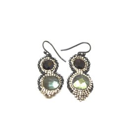 Kalosoma Garnet and Labradorite Earrings