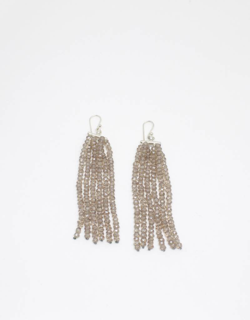 Ann Lightfoot Six Strand Earrings of Pink Quartz on Sterling Silver
