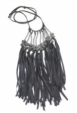 Ann Lightfoot Fringe Necklace of Flat Faceted Hyperstein and Hematite on Black Cord