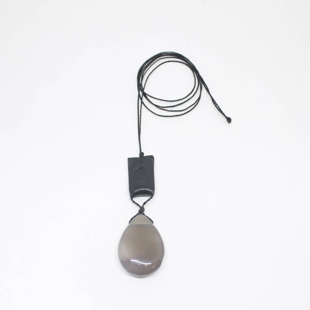Ann Lightfoot Pendant Necklace of Grey Agate and Leather on Black Cord