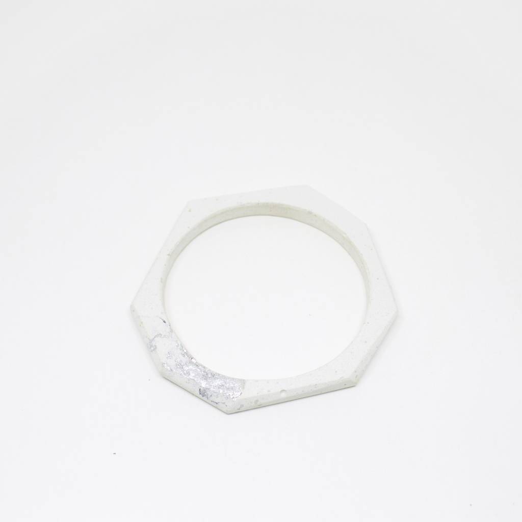Dconstruct Jewelry Fractured White Cement Bangle - Octagon
