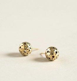 MulXiply Moon Stud Earrings - Brass