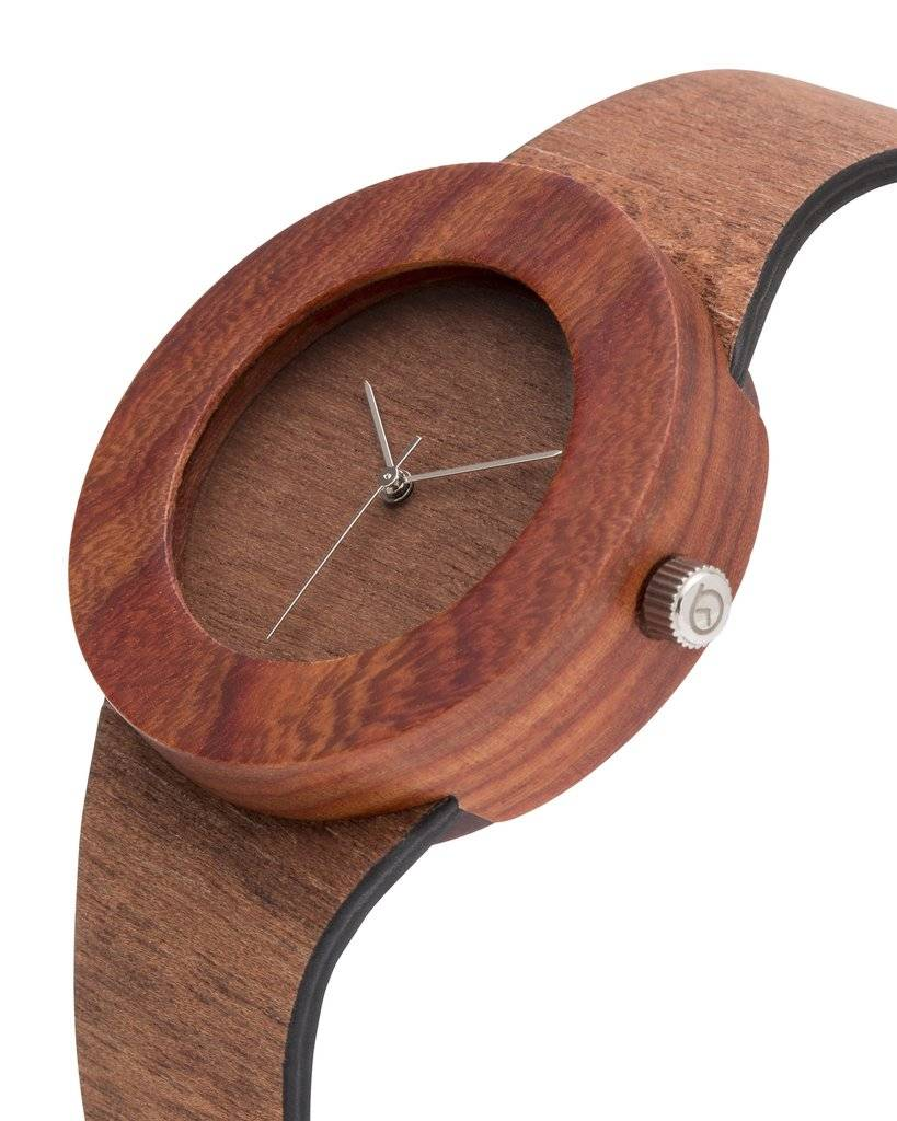 Analog Watch Co. Makore and Red Sanders - No Hour Markings
