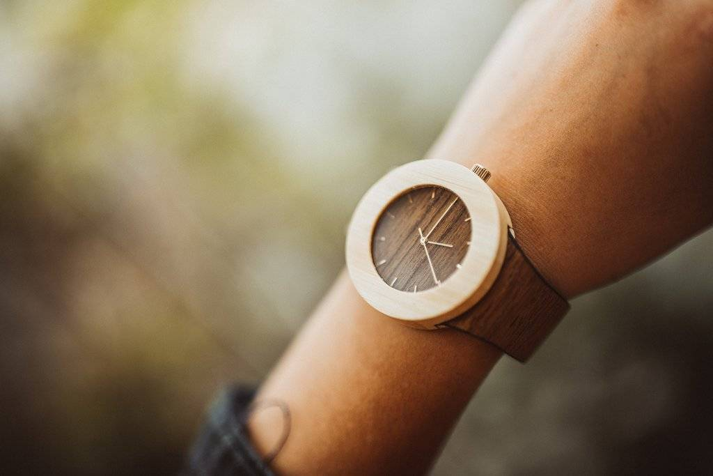 Analog Watch Co. Teak and Bamboo - With Hour Markings