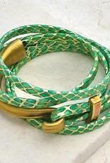 Canoe Half Hook Wrap Bracelet - Metallic Green