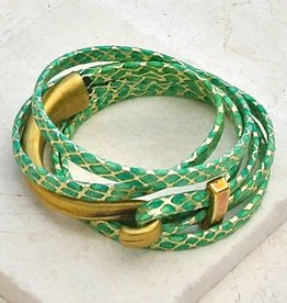 Canoe Half Hook Wrap Bracelet Metallic Green