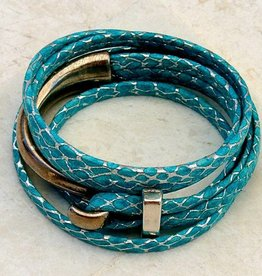 Canoe Half Hook Wrap Bracelet Metallic Blue