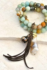 Canoe Amazonite 3 Strand Beaded Bracelet