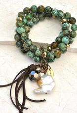 Canoe African Turquoise 3 Strand Beaded Bracelet