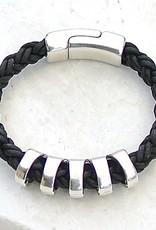 Canoe Silver Ribbed Black 8 Ply Bracelet