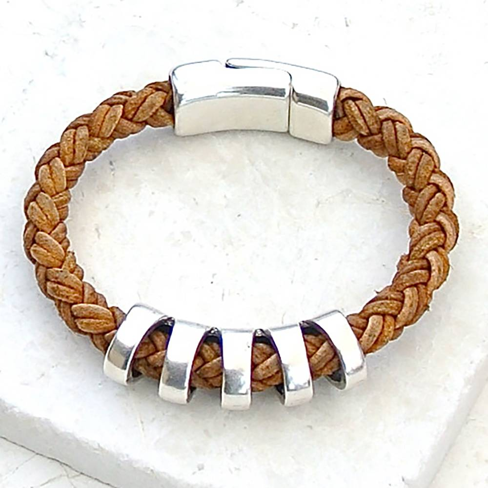 Canoe Silver Ribbed Antique Brown 8 Ply Bracelet
