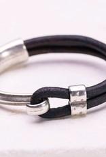 Canoe Silver Half Hook Dark Brown Bracelet