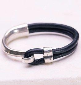 Canoe Silver Half Hook Black Bracelet