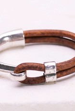 Canoe Silver Half Hook Light Brown Bracelet