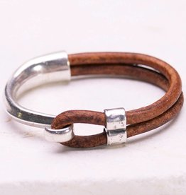 Canoe Silver Half Hook Light Brown Bracelet