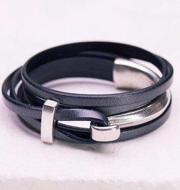 Canoe Silver Half Hook Wrap Grey Bracelet