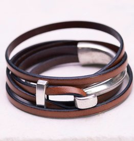 Canoe Silver Half Hook Wrap Brown Bracelet