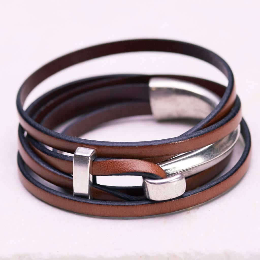 Canoe Silver Half Hook Wrap Brown Bracelet
