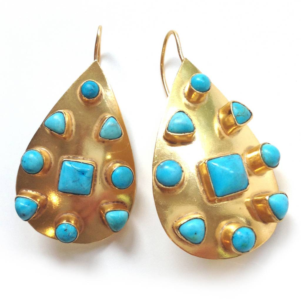 Addison Weeks Riddick Small Gold Earring - Blue Turquoise
