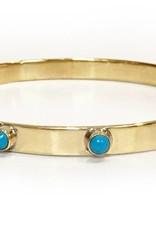 Addison Weeks Graham Bangle - Brass + Blue Turquoise