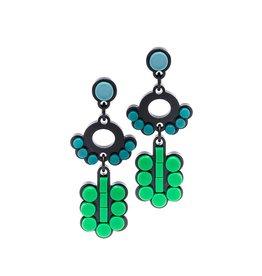 Finn Art Deco Circle Earrings - Green