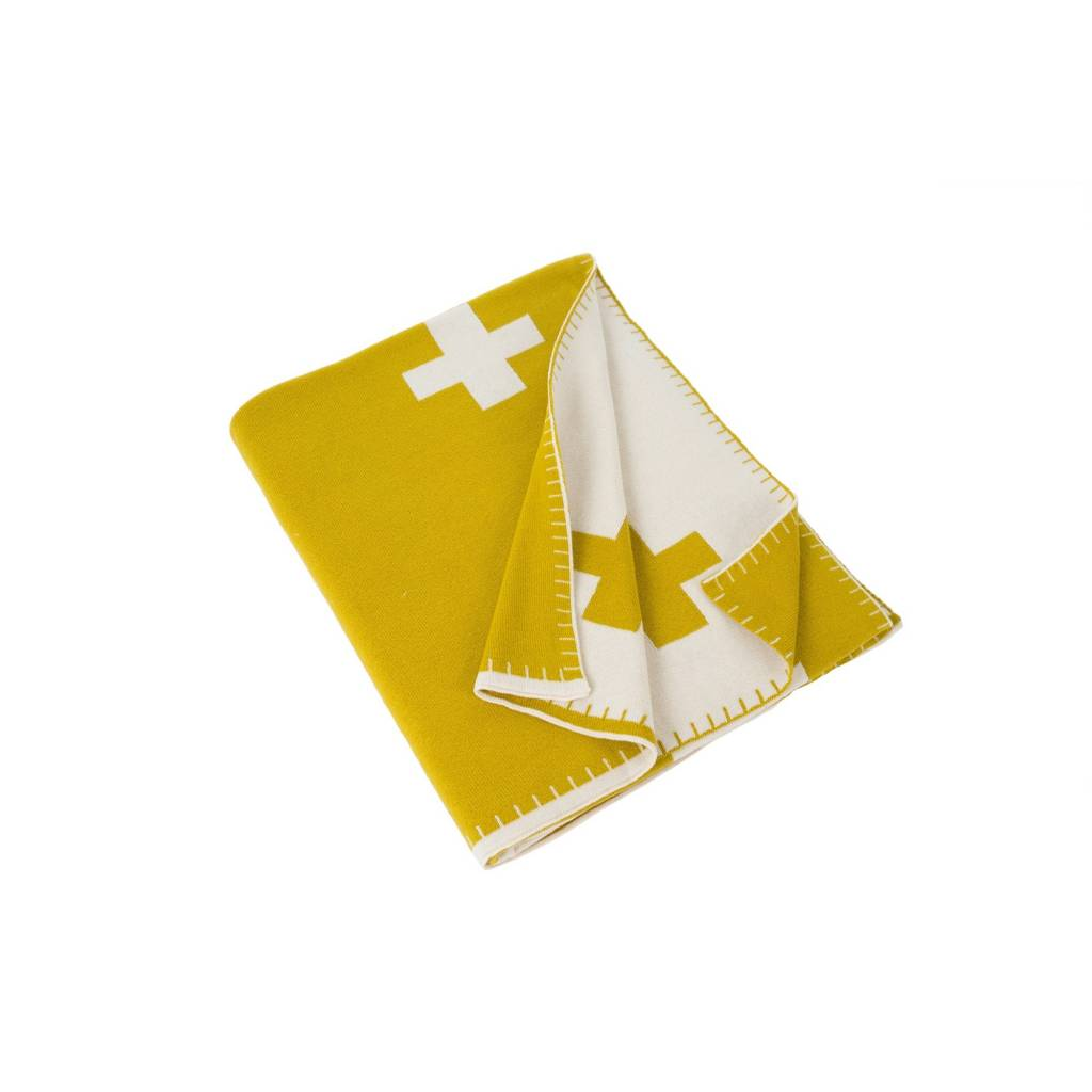 Swiss Cross Throw - Olive