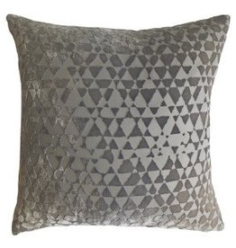 Kevin O'Brien Studio Triangles Silk Velvet Pillow - Nickel