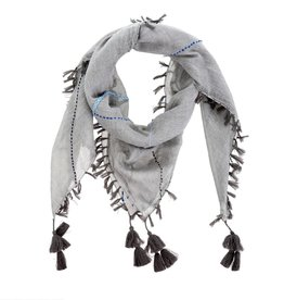 Calla Embroidered Scarf - Grey